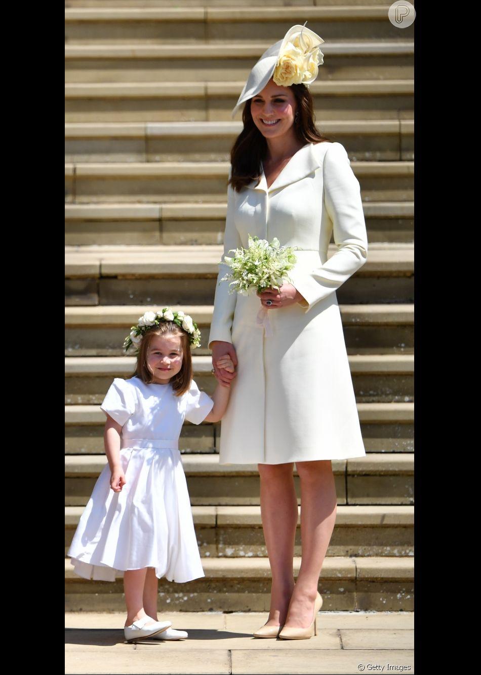 Kate Middleton usa vestido-casaco Alexander McQueen pela quarta vez, no casamento do príncipe Harry com Meghan Markle, em 19 de maio de 2018