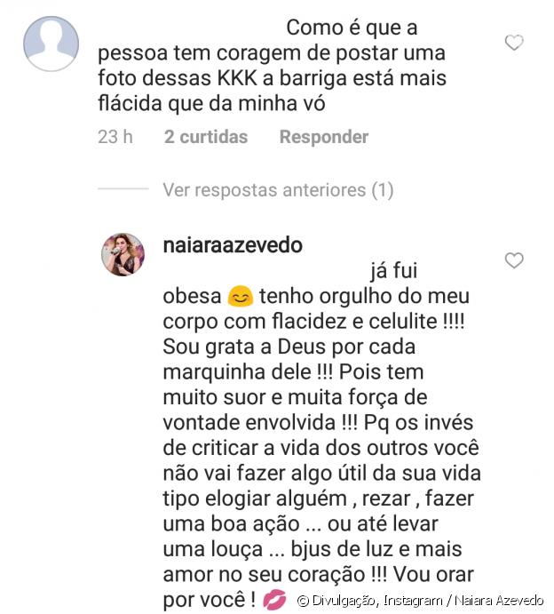 Naiara Azevedo reprovou crítica ao exibir foto de barriga na academia