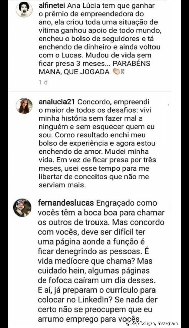 Lucas e a noiva, Ana Lúcia Vilela, rebatem comentário sobre fim de noivado na web