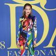 Gigi Hadid vestiu Versace no CFDA (Council of Fashion Designers of America) Awards 2018, realizado no Brooklyn Museum, em Nova York, nesta segunda-feira, 4 de junho de 2018