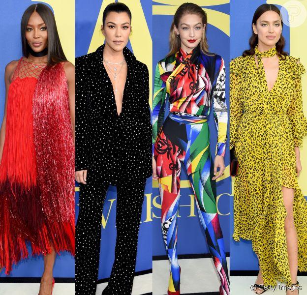 Naomi Campbell, Kourtney Kardashian, Gigi Hadid e Irina Shayk chamaram atenção com suas produções no CFDA (Council of Fashion Designers of America) Awards 2018. Veja os looks das famosas no evento!