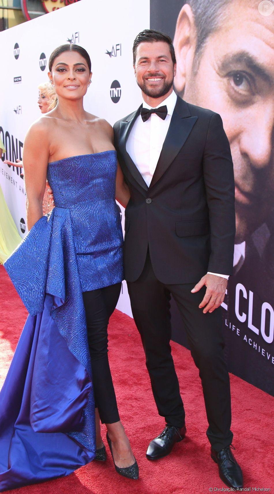 Juliana Paes e o marido,  Carlos Eduardo Baptista, no tapete vermelho do 46º AFI Life Achievement Award, nos Estados Unidos, nesta quinta-feira, 7 de junho de 2018