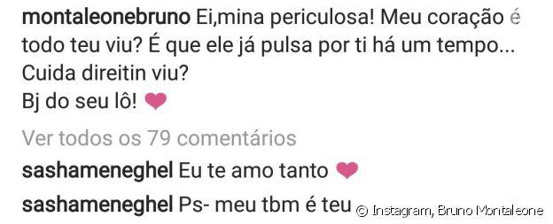 Sasha Meneghel respondeu a declaração de Bruno Montaleone no Dia dos Namorados