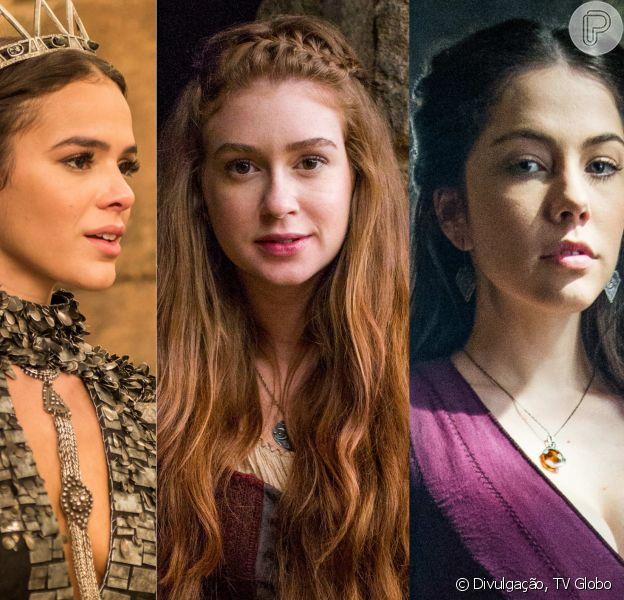 Amália (Marina Ruy Barbosa) descobre que Catarina (Bruna Marquezine) não é filha legítima de Augusto (Marco Nanini). Brice (Bia Arantes) é mãe da vilã na novela 'Deus Salve o Rei'