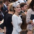 Angelina Jolie  prestigia o 200º aniversário da Ordem Mais Distinta de São Miguel e São Jorge, na Catedral de São Paulo, em 28 de junho de 2018, em Londres, Inglaterra