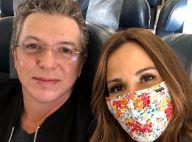 Ana Furtado usa máscara em avião e elogia o marido, Boninho: 'Amigo e apoiador'
