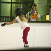 Susana Werner fotografa a filha se divertindo enquanto patina no gelo