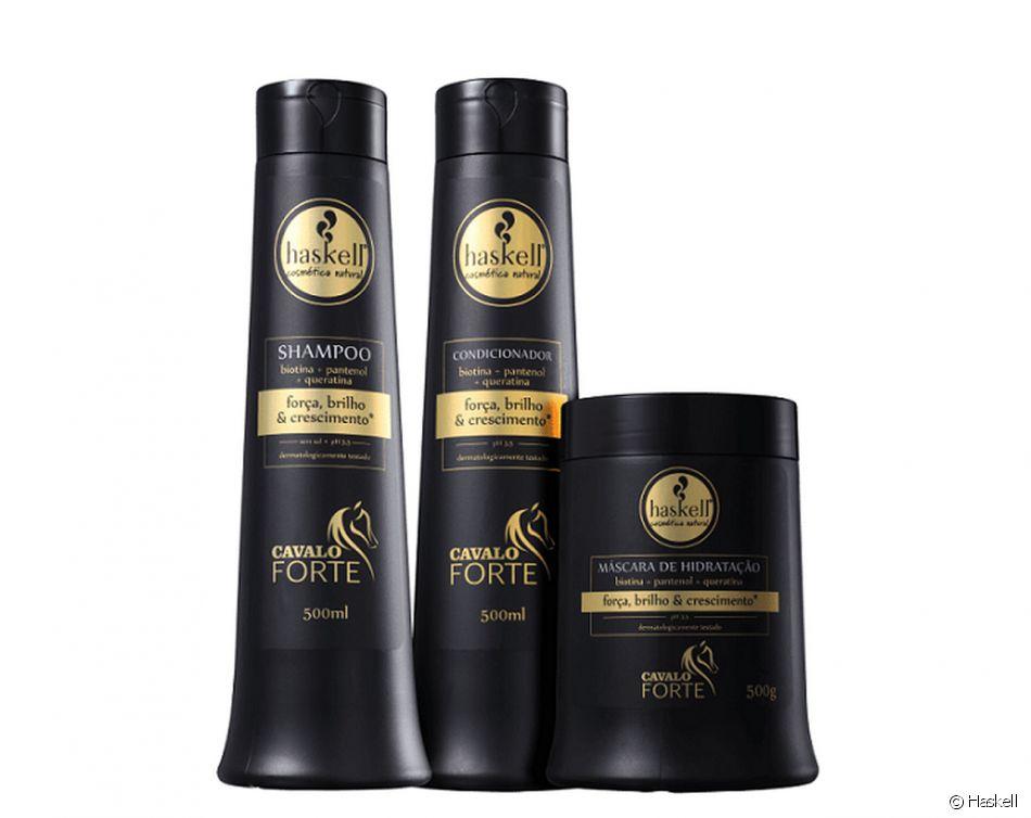 O shampoo Cavalo Forte Crescimento Saudável, da Haskell, tem Biotina, Pantenol e Queratina, ativos que são próprios para cabelos enfraquecidos e com dificuldade de crescimento