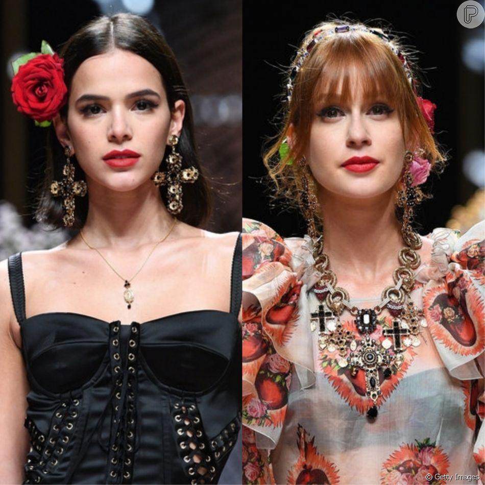 Bruna Marquezine e Marina Ruy Barbosa desfilaram pela Dolce & Gabbana, na semana de Moda de Milão, na Itália, neste domingo, 23 de setembro de 2018