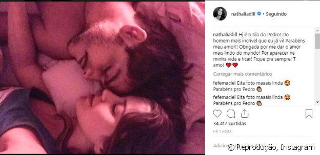 Nathalia Dill publica foto com o namorado, Pedro Curvello, no aniversário dele