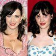 No início da carreira, Katy Perry foi bastante comparada fisicamente a atriz Zooey Deschanel