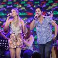Dupla nos palcos de Thiago, a cantora disse não ter preferência sobre o sexo do bebê