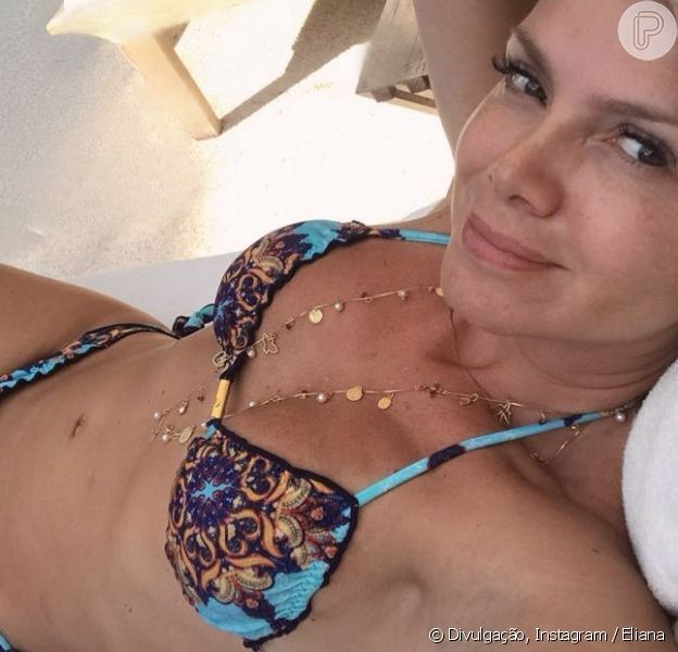 Aos 45 anos, Eliana impressionou os seguidores com foto de biquíni nesta quinta-feira, 3 de janeiro de 2019