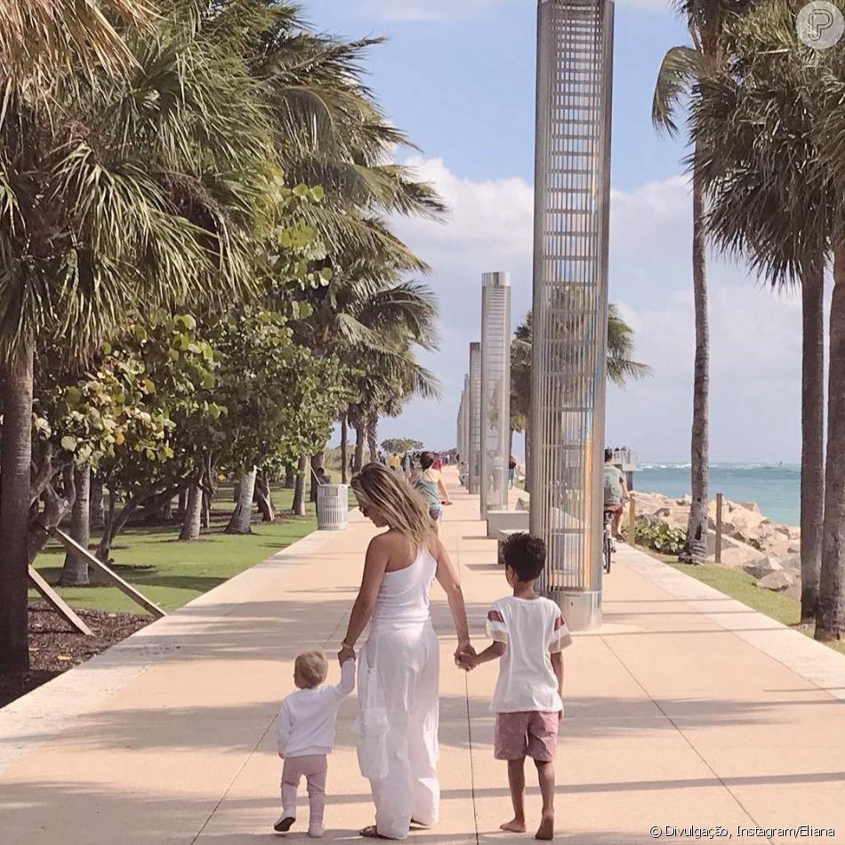 Eliana é fotografada com filhos, Manuela e Arthur, por noivo, Adriano, e posta clique nesta terça-feira, dia 22 de janeiro de 2019