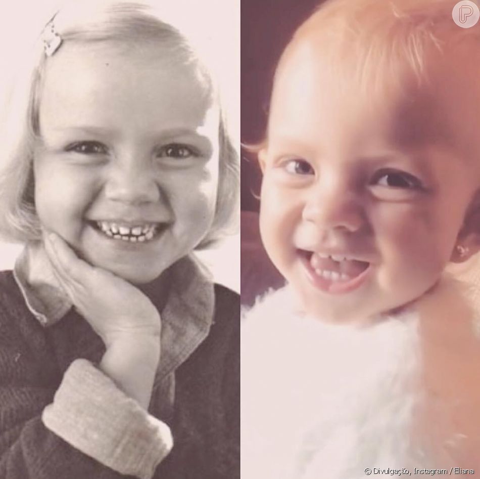Eliana compara foto sua criança com a filha, Manuela