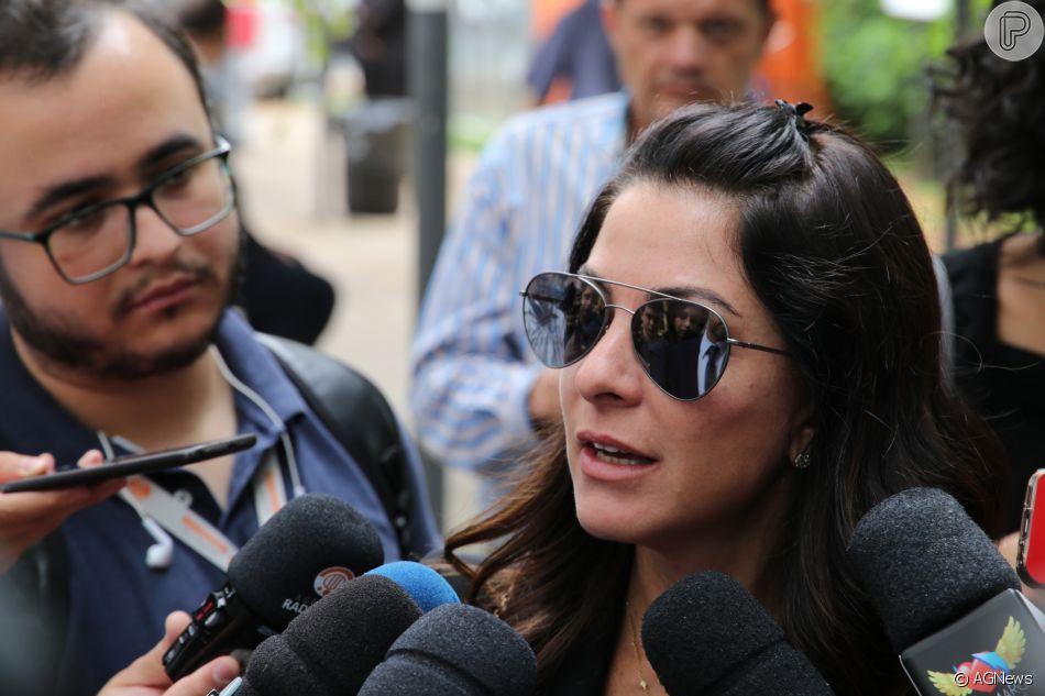 Ana Paula Padrãocompareceu ao velório de Ricardo Boechatno Museu da Imagem e do Som (MIS), nos Jardins, em São Paulo,na manhã desta terça-feira, 12 de fevereiro de 2019