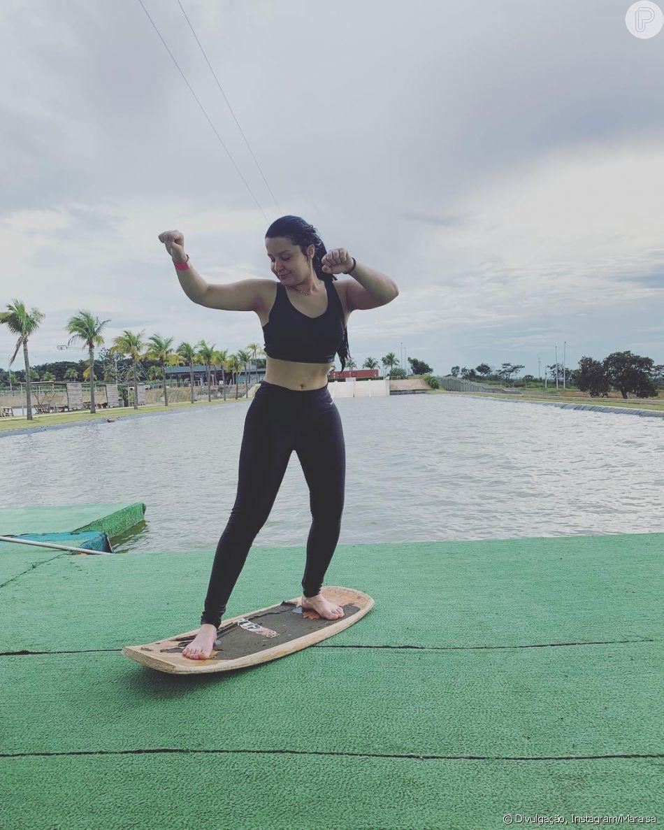 Maraisa, de top e legging após aula de wakeboard, ganha elogios na web nesta quarta-feira, dia 20 de fevereiro de 2019