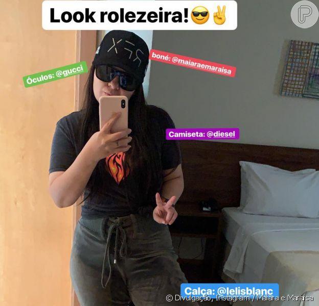 Maiara, da dupla com Maraisa, deixou o corpo mais magro em evidência em look grifado nesta terça-feira, 4 de março de 2019
