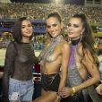 Bruna Marquezine curtiu desfile das campeãs do Carnaval do Rio de Janeiro com Izabel Goulart e Fernanda Motta