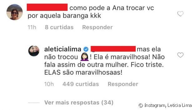 Leticia Lima repreende crítica de internauta à atual namorada de Ana Carolina