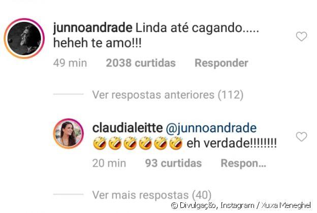 Claudia Leitte acha graça de comentário de Junno Andrade em foto de Xuxa Meneghel
