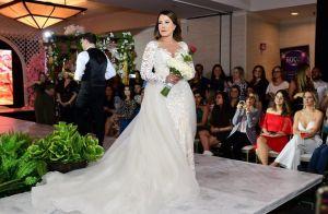 Busto estruturado e transparência: o vestido de noiva de Zilu Godoi em desfile