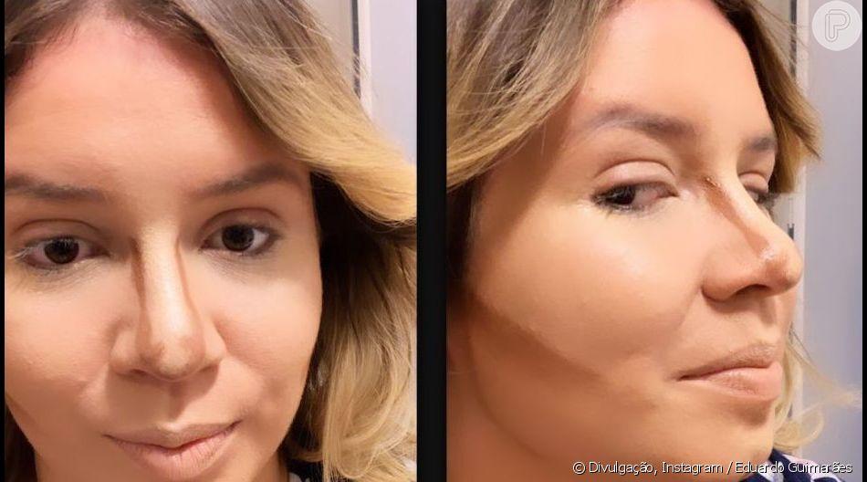 Eduardo Guimarães mostrou técnica do contorno em rosto de Marilia Mendonça nesta segunda-feira, 17 de junho de 2019