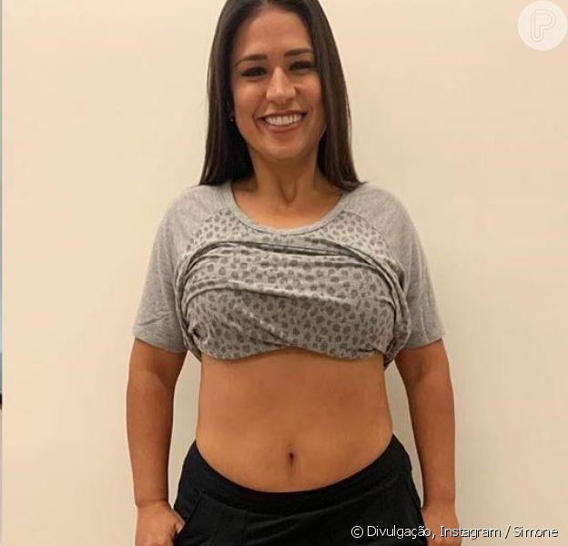 Dupla de Simaria, Simone mostra antes e depois do corpo após emagrecer