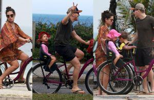 Teló e Thais Fersoza andam de bike com os filhos, Melinda e Teodoro. Fotos!
