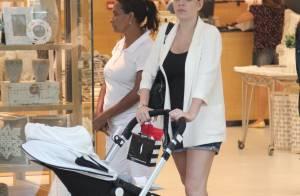 Luma Costa leva o filho, Antonio, de 4 meses, em shopping do Rio