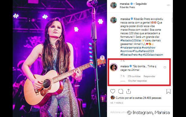 Maraisa recebeu comentário divertido da irmã, Maiara, por pose feita durante show em Ribeirão Preto, interior de São Paulo