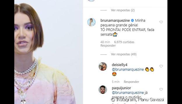 Bruna Marquezine revela ansiedade para ver Manu Gavassi no 'BBB20': 'Pronta'
