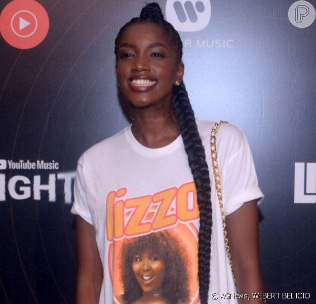Iza usa t-shirt personalizada com rosto de Lizzo em pocket show da americana no Youtube Space, no Rio de Janeiro, na noite desta quinta-feira, 06 de fevereiro de 2020