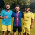 Murilo Huff encontrou a dupla Henrique e Juliano em jogo de futebol