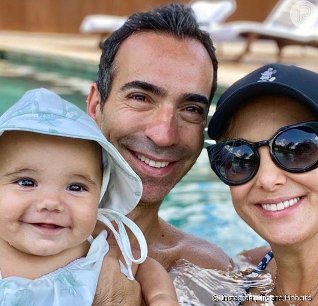Ticiane Pinheiro fez foto de Cesar Tralli com a filha, Manuella, nesta segunda-feira, 17 de fevereiro de 2020