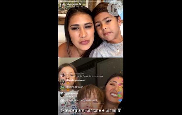 Filhos de Simone e Simaria interagiram na live das cantoras neste domingo, 22 de março de 2020