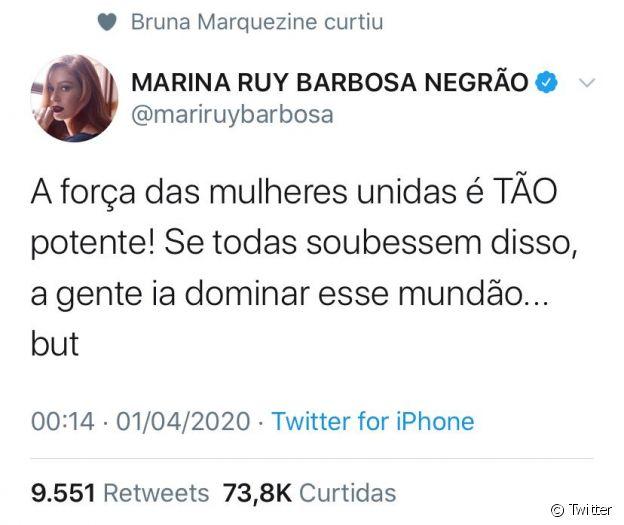 Marina Ruy Barbosa ganha like de Bruna Marquezine em post sobre sororidade