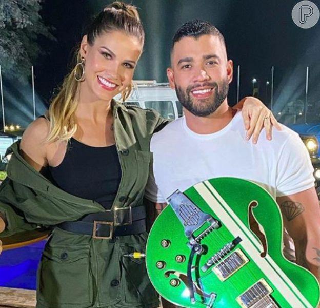 Andressa Suita foi pega de supresa durante a live de Gusttavo Lima no último sábado