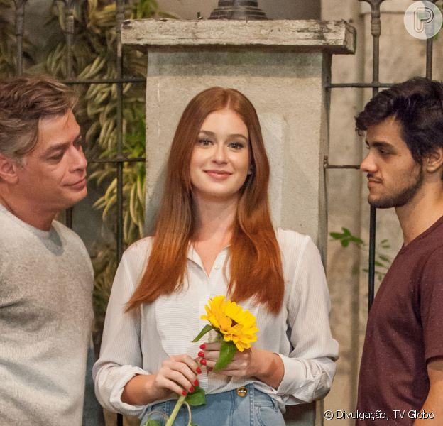 No fim da novela 'Totalmente Demais', Eliza (Marina Ruy Barbosa) se decidiu entre Jonatas (Felipe Simas) e Arthur (Fabio Assunção)
