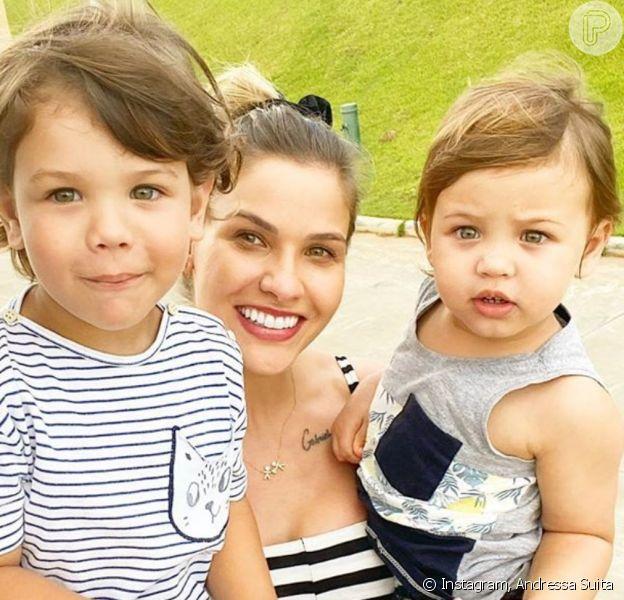 Beleza dos filhos de Andressa Suita e Gusttavo Lima chamou atenção em foto da modelo
