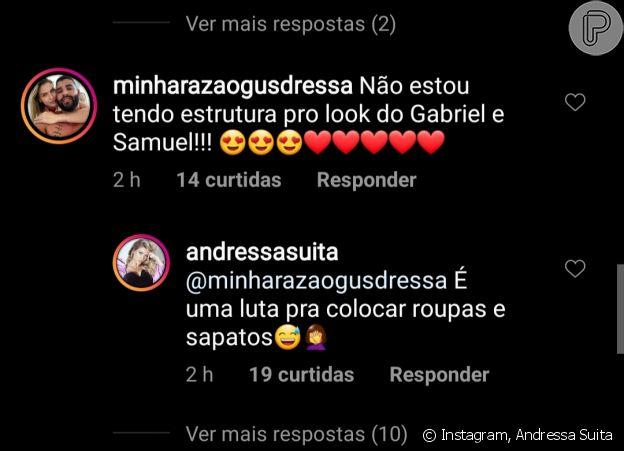 Andressa Suita responde fã sobre looks dos filhos, Samuel e Gabriel