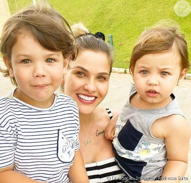 Andressa Suita mostrou um ensaio que fez com os filhos