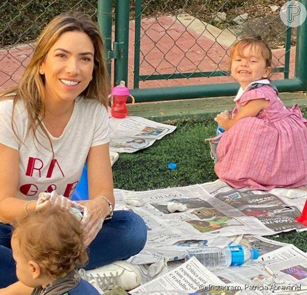 Patricia Abravanel estimula brincadeiras ao ar livre com filhos. Veja fotos postadas pela apresentadora nesta sexta-feira, dia 26 de junho de 2020