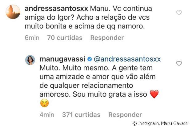 Manu Gavassi mantém boa relação com Igor Carvalho após término de namoro