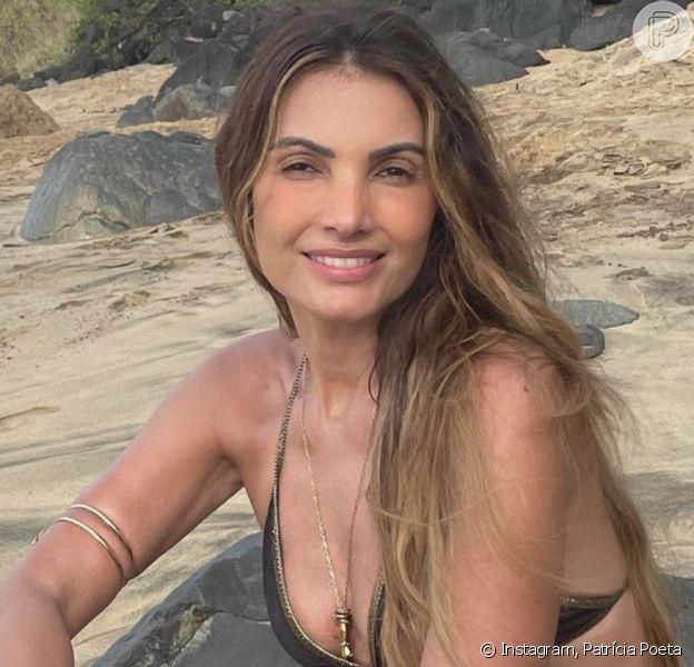 De biquíni, Patrícia Poeta ostenta beleza natural em foto sem maquiagem