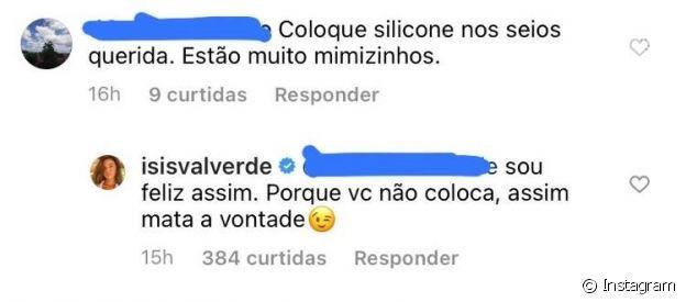 Isis Valverde rebate internauta que pediu intervenção cirúrgica em seu corpo