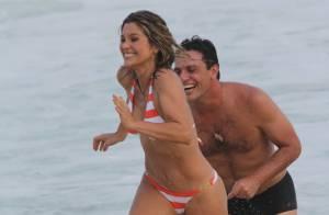 'Salve Jorge': Rodrigo Lombardi e Flávia Alessandra gravam em praia, no Rio