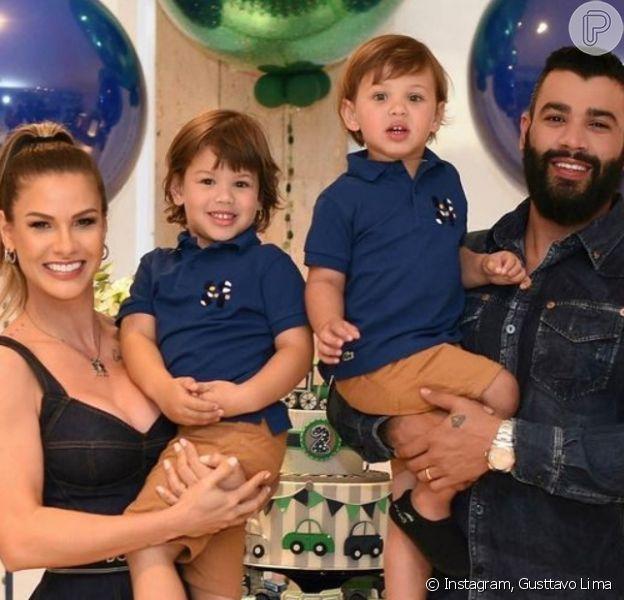 Gusttavo Lima mostra foto dos filhos com Andressa Suita e aprova comparação. 'Gêmeos' - Purepeople