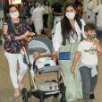 Simone desembarcou em São Paulo com os filhos e o marido