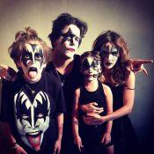 Murilo Benício, Débora Falabella e os filhos se fantasiam como a banda Kiss
